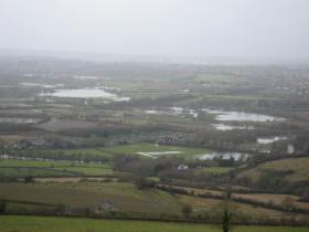Flooded fields beside the Keynsham loop of the River Avon.