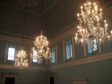 The chandeliers in the Ballroom at the Assembly Rooms!