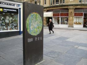 A map 'monolith' near Bath Abbey