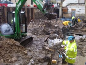 The hoard lifted by crane ©Cotswold Archaeology