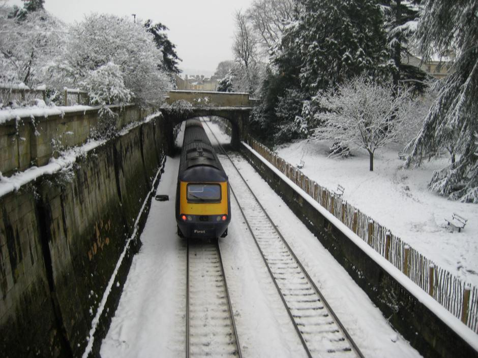 train on snowy sydney gardens