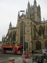 The contemporary lamp now in front of the north side of Bath Abbey.