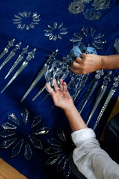 The exquisite crystal is dismantled for cleaning. © Heritage Services, B&NES.