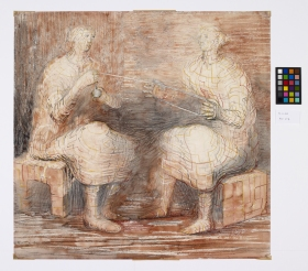 MOORE, Henry Women winding wool 1948 drawing  Arts Council Collection, Southbank Centre, London
