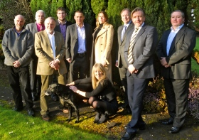 PHOTO shows left to right (front): Bath and North East Somerset Council Cllr Dave Laming (Lambridge ward, Independent); Teal the Labrador; Cllr Sarah Bevan (Peasedown St John ward, Liberal Democrat); Philip Challinor, Denning Male Polisano Chartered Architects; (back row): Trevor Skoyles, lock keeper at Hanham; Cllr Bryan Chalker (Lambridge ward, Independent); Cllr Ben Stevens (Widcombe Ward, Liberal Democrat); Jeremy Douch, Regional Director, AECOM; Nikki Wood, Managing Director, Environmental Gain Ltd; Geoff Dunford; James Hurley, Director, Built4Life Ltd.