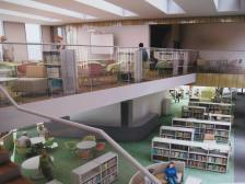 How the new library should look but no illustration on the hoarding around the construction site for how the museum room will look!