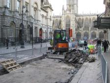 Narrowing the pedestrian gap outside the Guildhall.