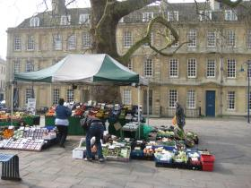 The fruit and veg stall under the tree in Kingsmead Square