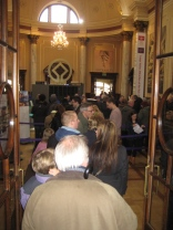 Queues inside the Roman Baths reception and ticket  area.