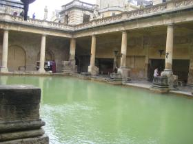 The Great Roman Bath which is fed with water from the Sacred King's spring.