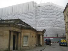The new Gaisnborough Hotel lies hidden behind its construction shroud alongside the Thermae Spa complex.