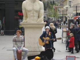 Young buskers in Southgate.
