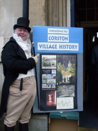 Martin Salter on duty outside Bath's Jane Austen Centre and with a display of some of Corston's village history.