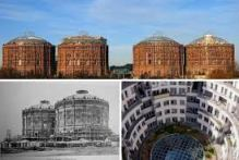 The four converted gasometers in Vienna.
