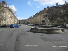 Looking down Great Pulteney Street from the Laura Place fountain.