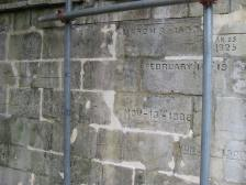 Flood levels recorded on the stone
