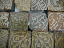 Medieval decorated floor tiles from Keynsham Abbey.