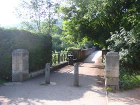 The ugly concrete bridge across the River Avon at Grovesnor