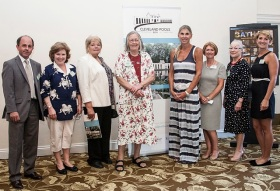 Edward Holland (PRT), Sally Helvey (CPT Marketing Co-ordinator), trustees Linda Watts & Ann Dunlop (Chair), Sharron Davies MBE, trustees Ina Harris & Ainslie Ensom, and Manuela Belle (PRT). Jeni Meade Photography