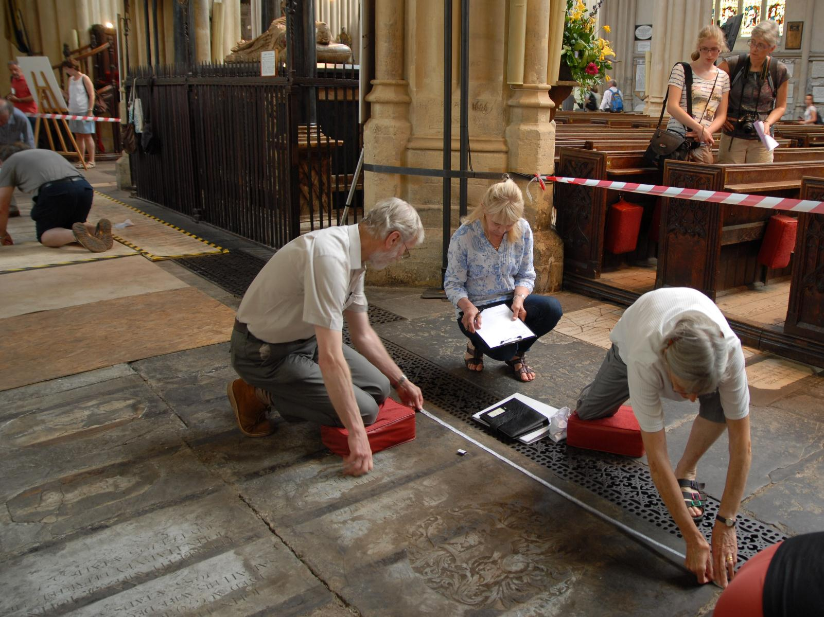 Floor trial and ledger stone recording - L-R-Volunteers Mark Hudson Sandra Brown and Priscilla Olver SMALL