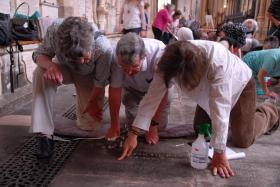 Floor trial and ledger stone recording-L-R-Volunteers Pat and David Dawson with Neil Rushton