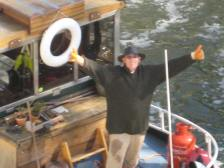Charlie Dancey pictured on his Dutch barge Northern Sun
