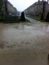 The lawns at the Holbourne Museum under water!