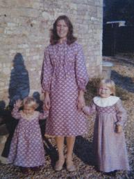 Pam Twohig and her daughters in hand-made Laura Ashley outfits.