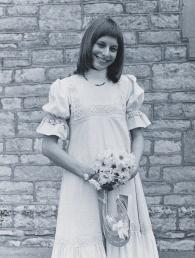 Rose Gallop in her Laura Ashley wedding dress