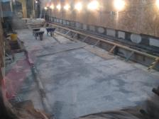The insulation layer going down in Bath Abbey