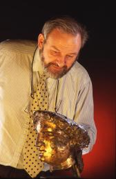 Roman Baths Manager Stephen Clews with the gilt bronze head of the statue of Sulis Minerva.
