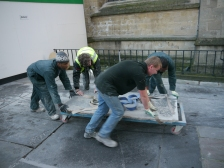 Memorial slab on the move!