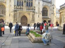 This year's Cross of Remembrance outside Bath Abbey's West Door.