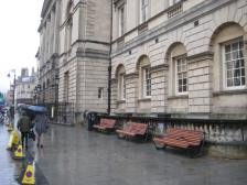 New seating outside the Guildhall.
