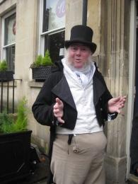 Martin Salter on duty outside the Jane Austen Centre.