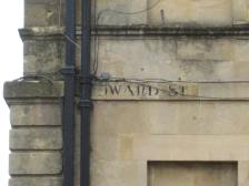 A closer view of the first Edward Street sign.