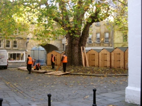 Setting up chalets on Abbey Green