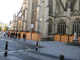 Chalets on the both side of Bath Abbey