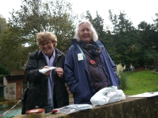 Jane Harding Wyatt (L) and Trust Chair Ann Dunlop were in charge of raffle tickets and telling visitors more about the history of the Pools.