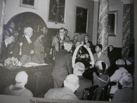 The Emperor's gift being received by the Mayor of Bath, Alderman William Henry Gallop, in 1954.