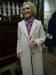 Mary pictured leaving the Guildhall this evening.