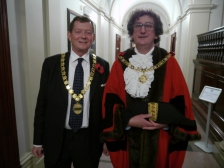 Chairman of B&NES, Cllr Neil Butters (L) and the Mayor of Bath, Cllr Malcolm Lees leaving for the 'switch-on'