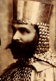 Frank Albert Smith dressed like a knight in armour!