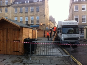 Market stalls being dismantled today.