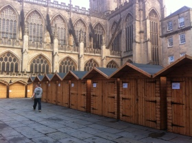 Market stalls awaiting removal.