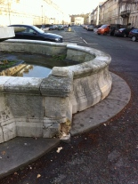 The damaged fountain base in Laura Place
