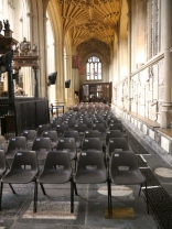 Temporary chairs at Bath Abbey. Not a style that the church would buy for permanent use!