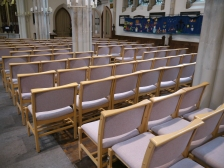 Padded seating for the congregation at St Michael's Without.