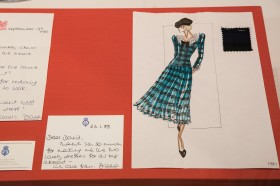 Fashion drawing for the tartan wool dress   Loaned to the Fashion Museum by David Sassoon