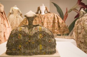 Fashion doll's mantua, yellow and silver woven brocaded silk, 1760s Woman's court mantua, green-brown woven brocaded silk, possibly worn by Elizabeth Linley at the court of George III, 1760s
